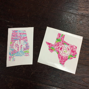 Custom Lilly Pulitzer Monogram State Decal Sticker - Campus Connection - Campus Connection - 1