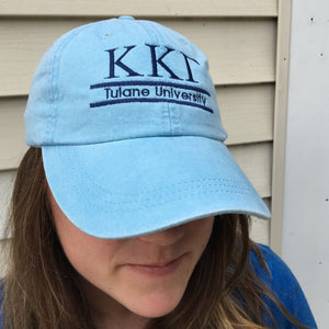 Sorority Embroidered 2-Bar Hat