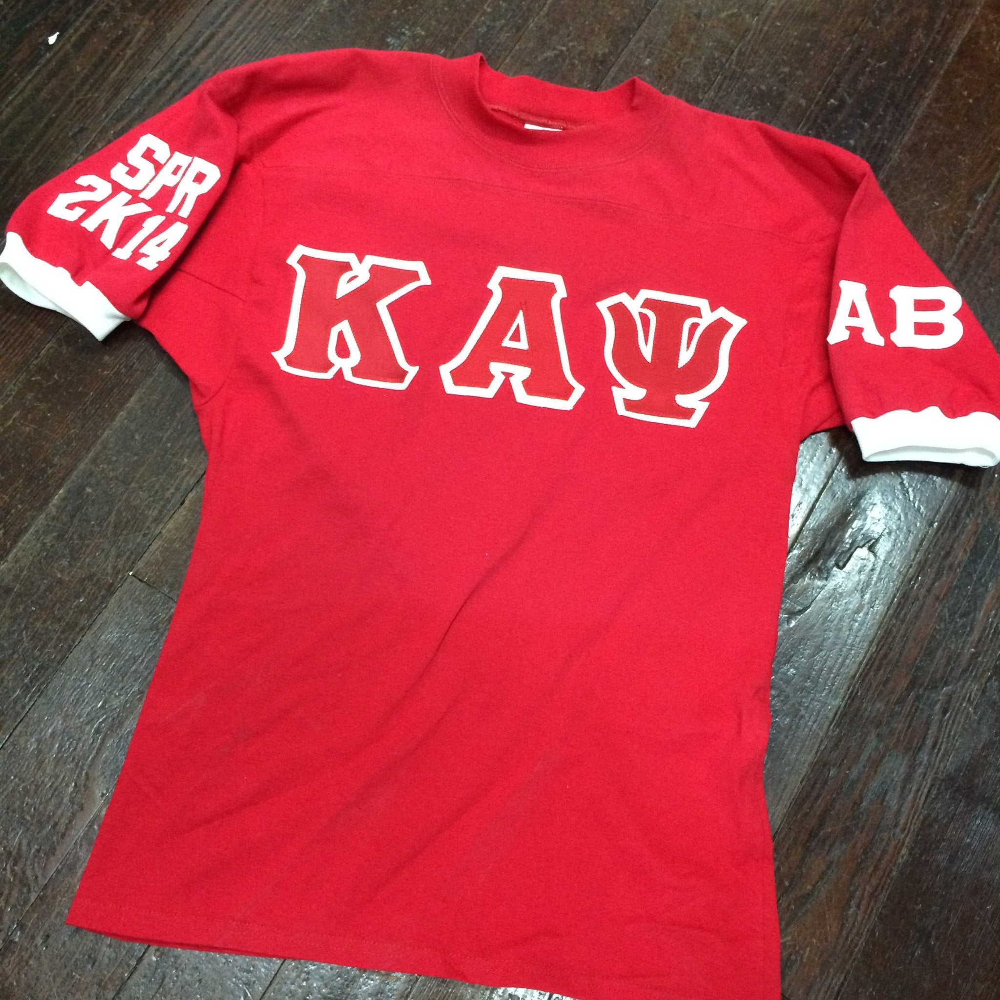 Sewn-Letter Jersey Shirt with Cuffs - Campus Connection - Campus Connection - 1