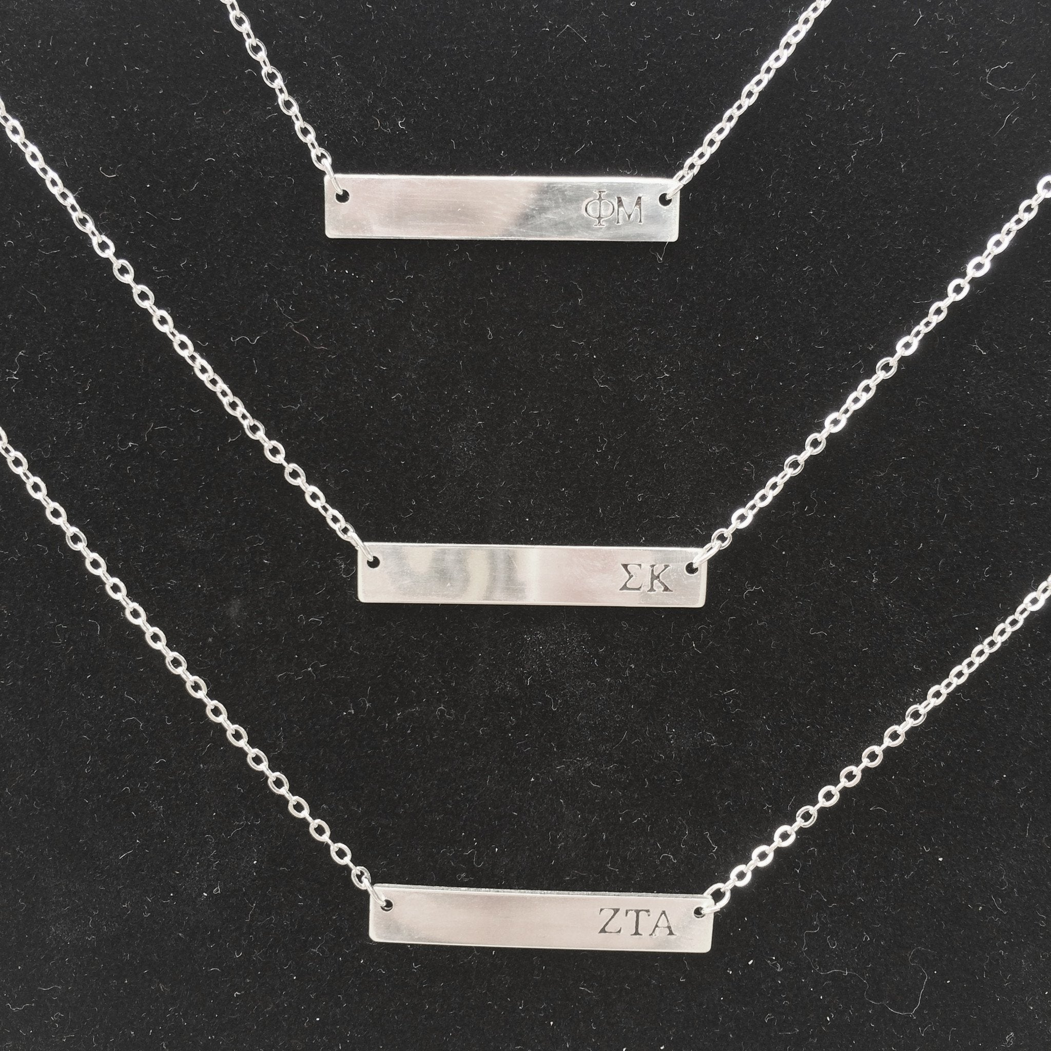 Sorority Bar Stamp Necklace - A-List - Campus Connection