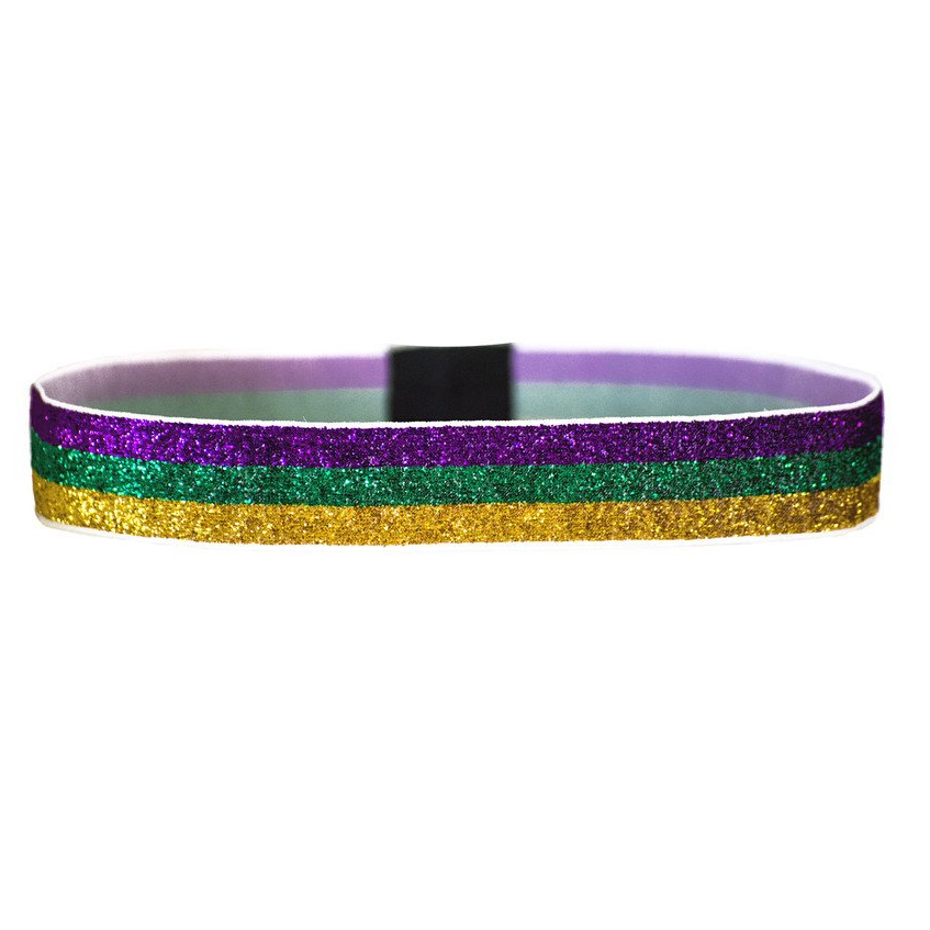 Mardi Gras Triglitter Purple, Green and Gold Wide Headband - Haybands - Campus Connection