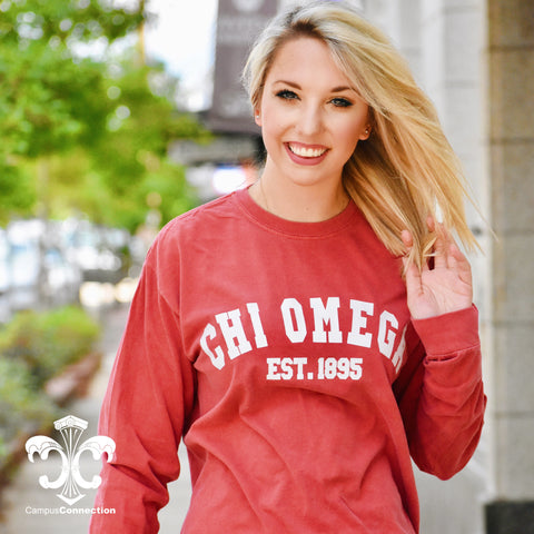 Comfort Colors Long Sleeve Shirt with Varsity Design