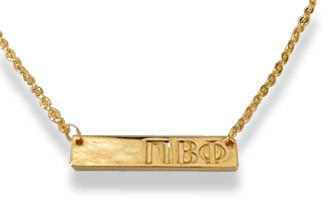 Sorority Bar Necklace - Gold - Shawn Paul Jewelry - Campus Connection - 12