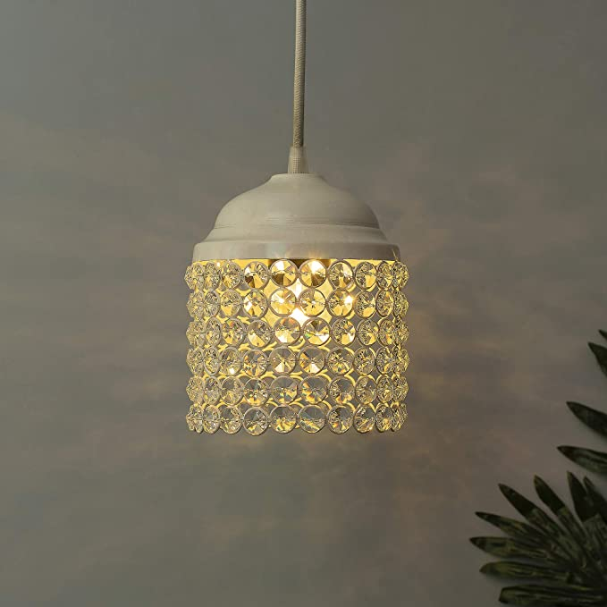 🇮🇳White Crystal Hanging Cylinder Light  水晶吊燈