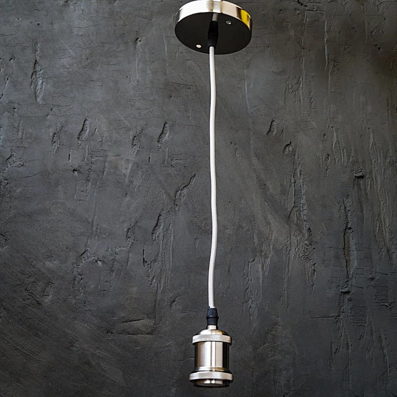 Black Steel Silver Pendent Industrial Light w/ Filament Bulb