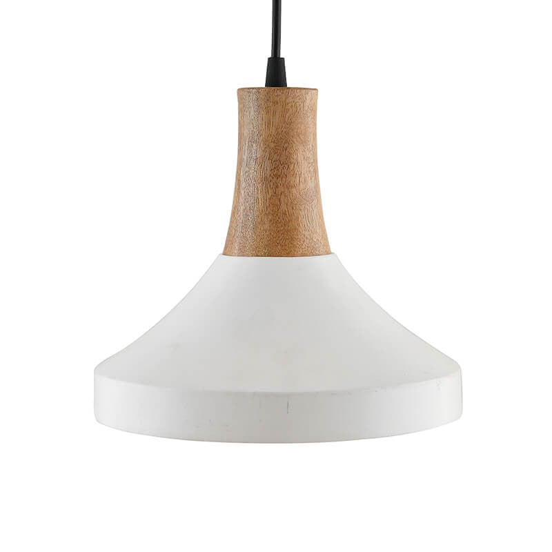 Parker Metal Wood Pendant Light, White Metal Hanging Ceiling Light