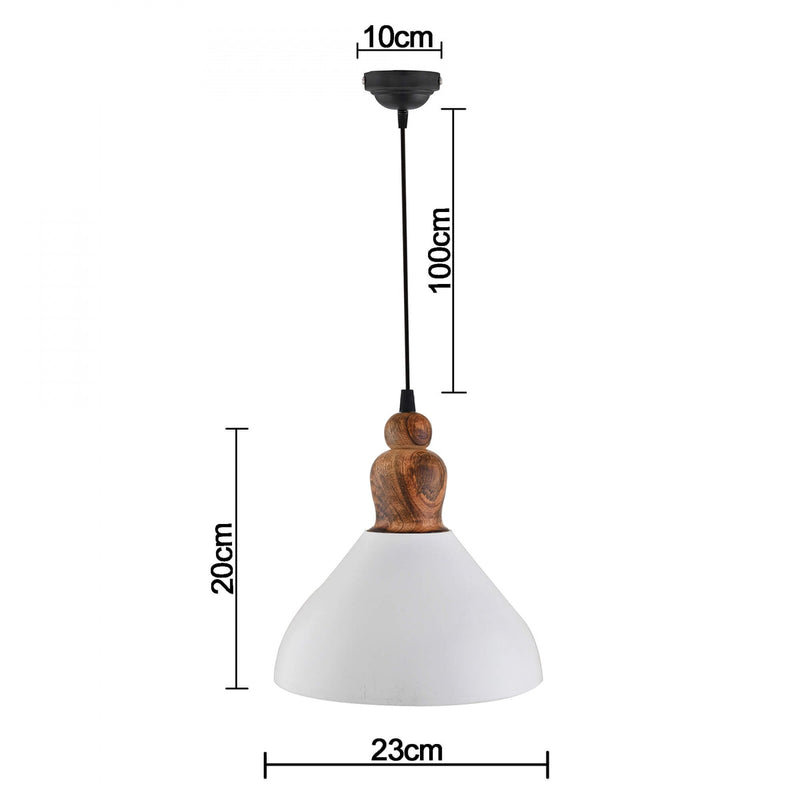 Victoria Pendant Light, White Metal Wood Hanging Ceiling Light