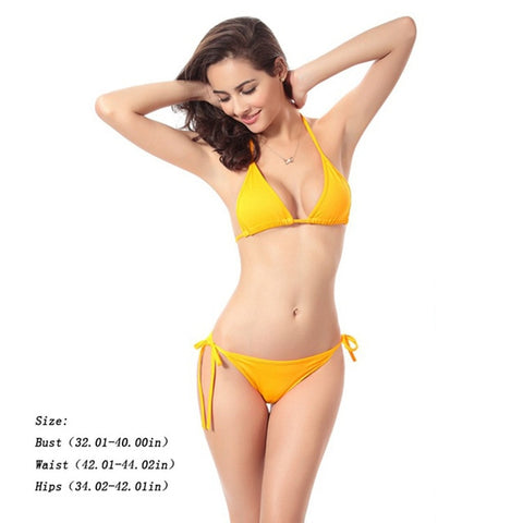 Women Sexy Pure Color Swimsuit Two Piece Suits Sling Bikini
