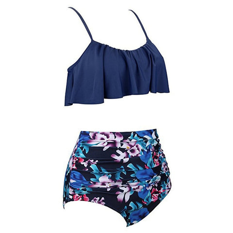 High Waist Bikini Ruffle Women Swim Bathing Suit
