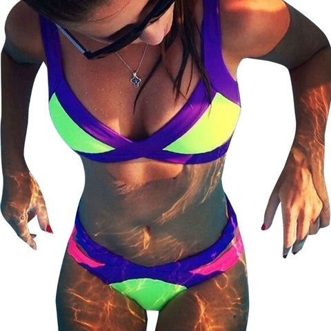 Colorful Bandage Swimsuit Bathing Suit Bikini Set