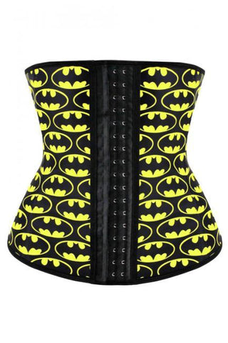 Latex Batman Print 4 Steel Boned Waist Trainer
