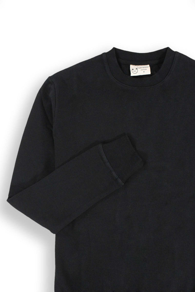 Fitted Basic Crew Neck Sweatshirt Black