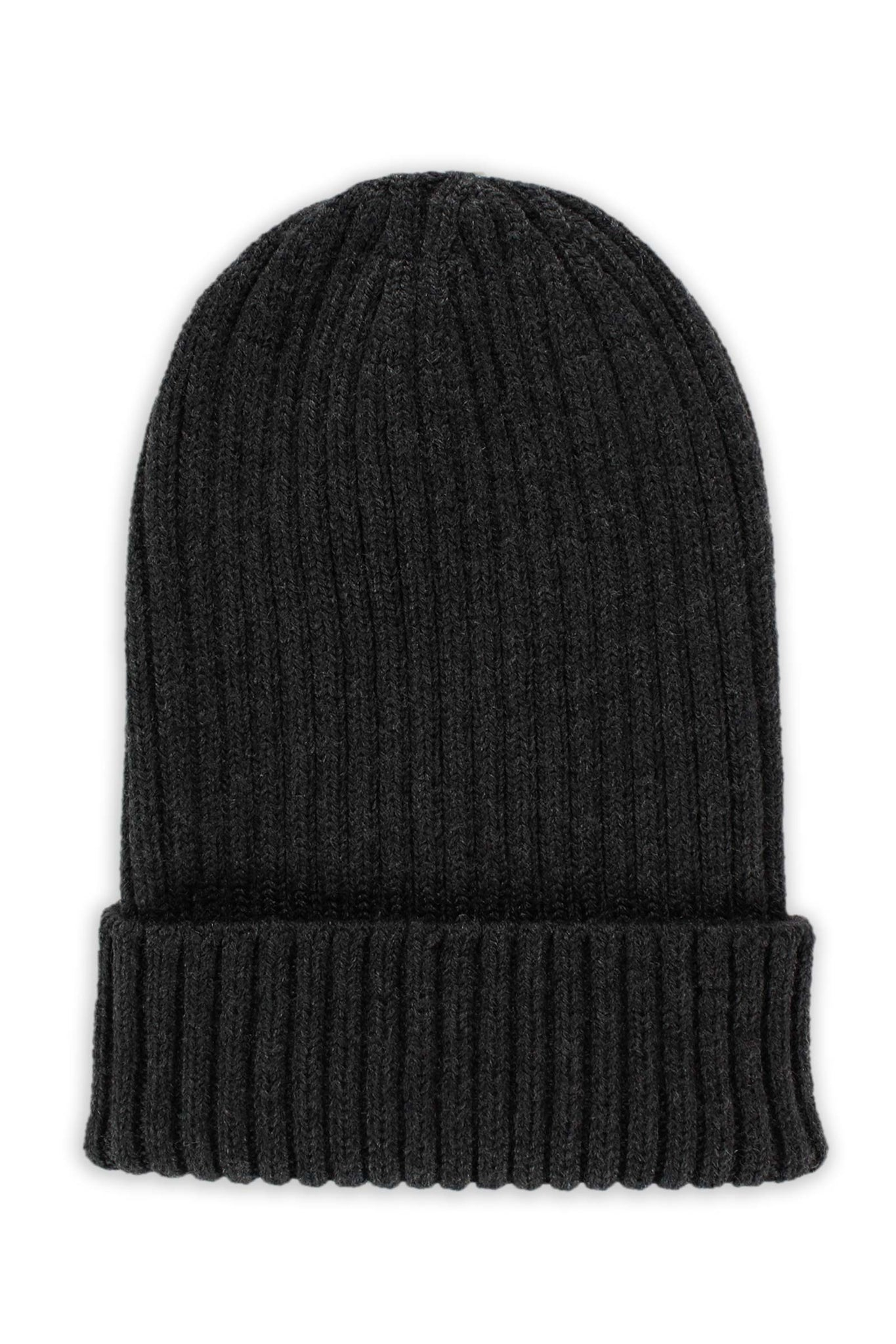 Black Cashmere 2 x 2 Ribbed Beanie