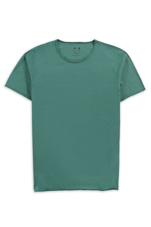 Organic Cotton Modal  Short Sleeve Roll Neck Bottle Green
