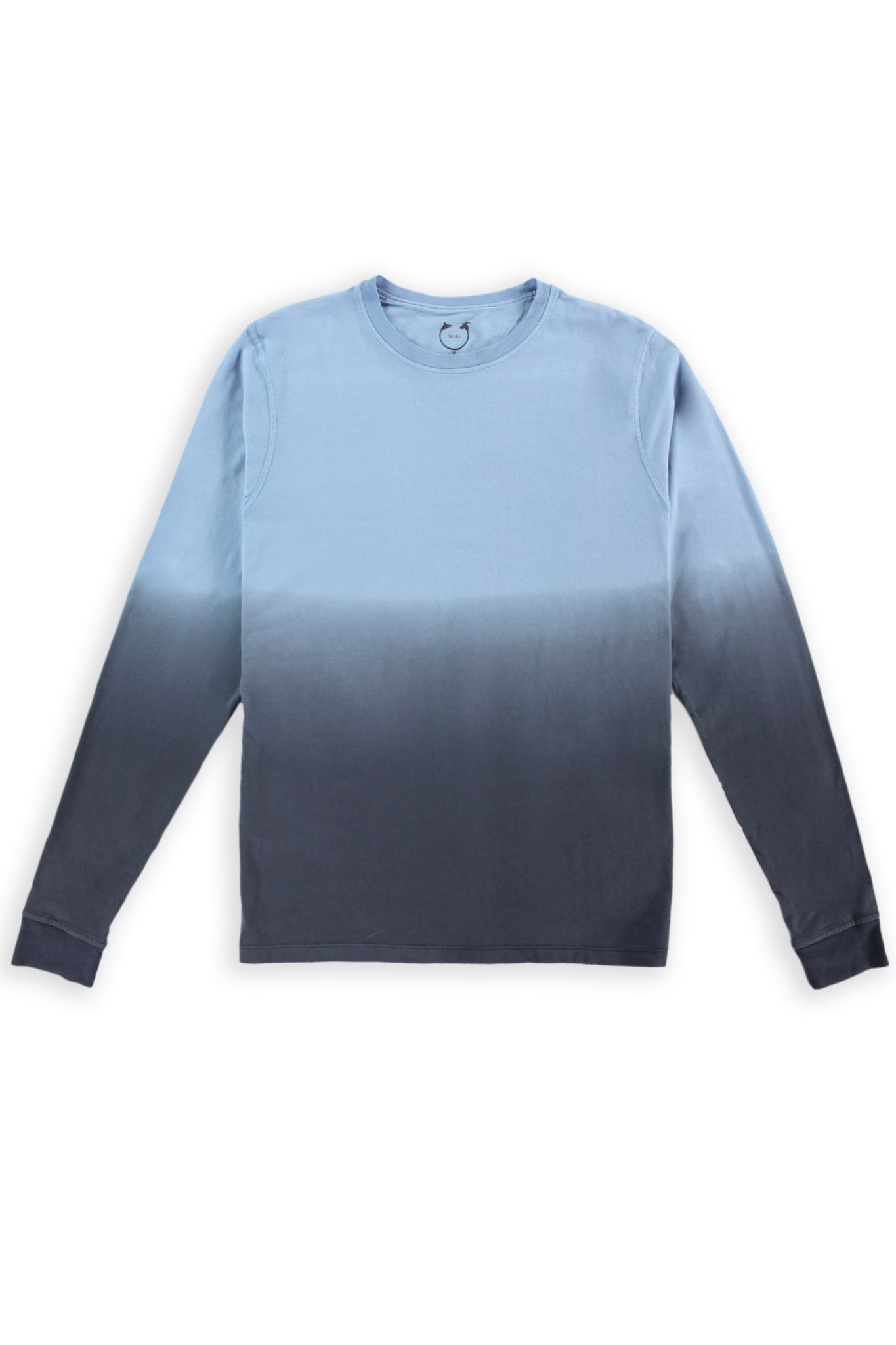 Long Sleeve Crew Neck Organic Cotton Modal Tee Blue Ombré