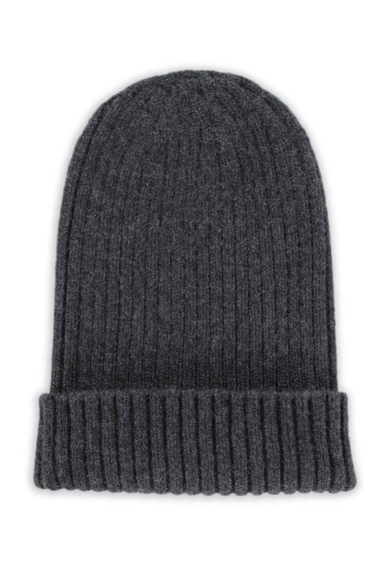 Charcoal Cashmere 2 x 2 Ribbed Beanie