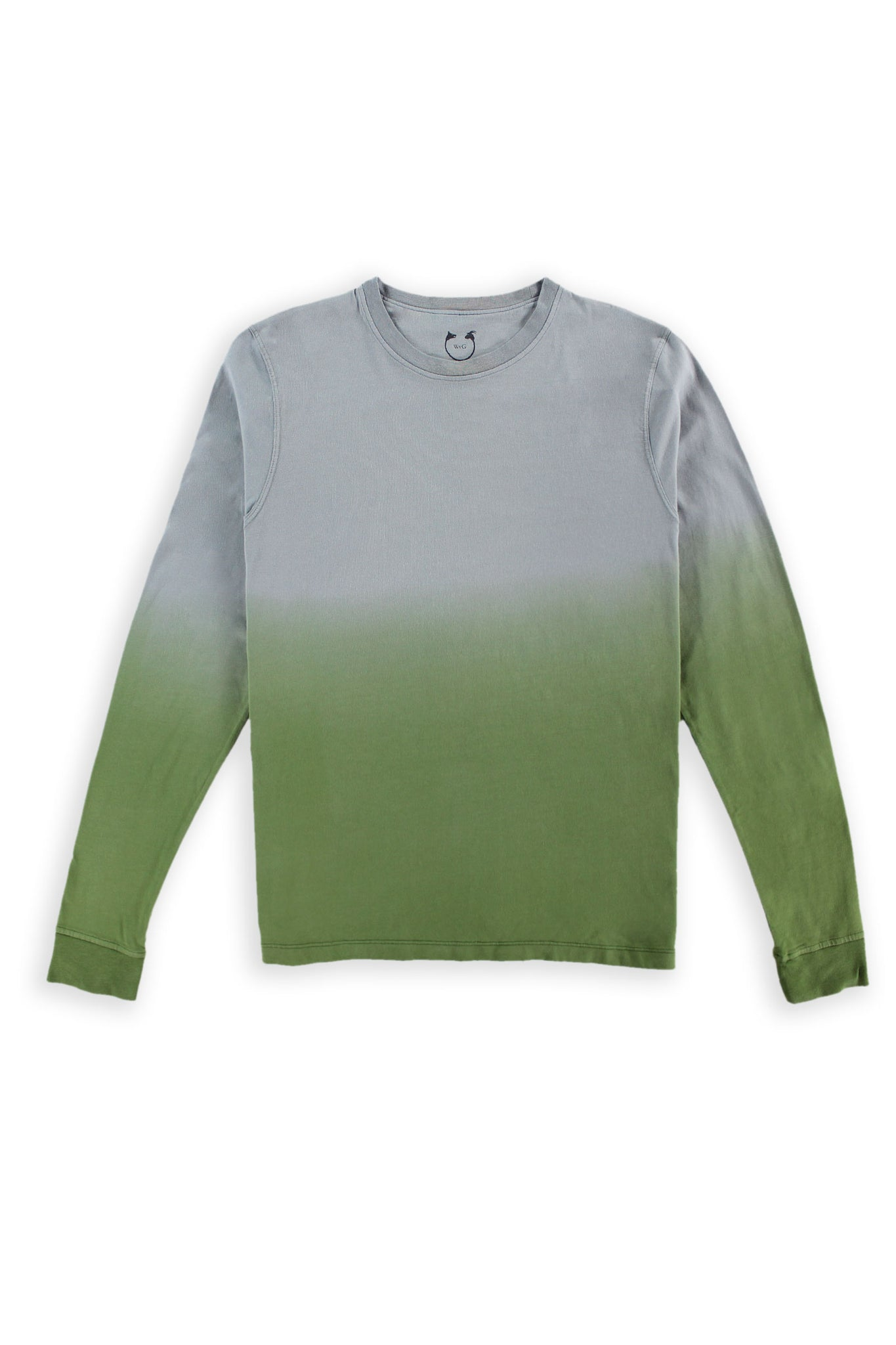 Long Sleeve Crew Neck Organic Cotton Modal Tee Gray Ombré
