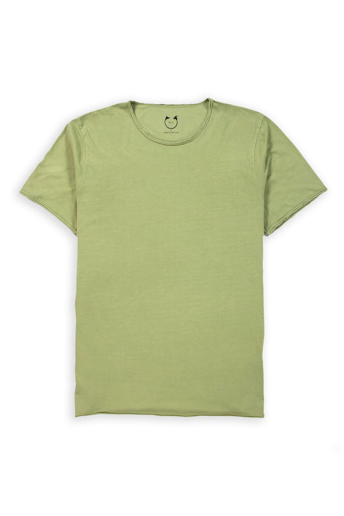 Organic Cotton  Short Sleeve Roll Neck Greenstone