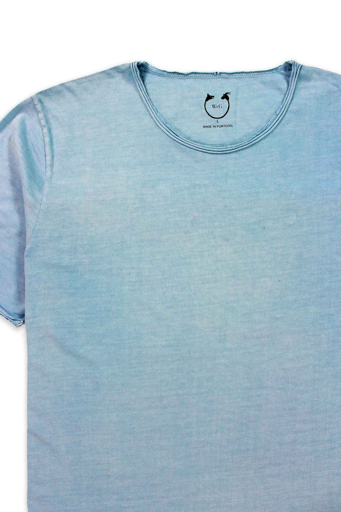 Organic Cotton Short Sleeve Roll Neck Ice Blue