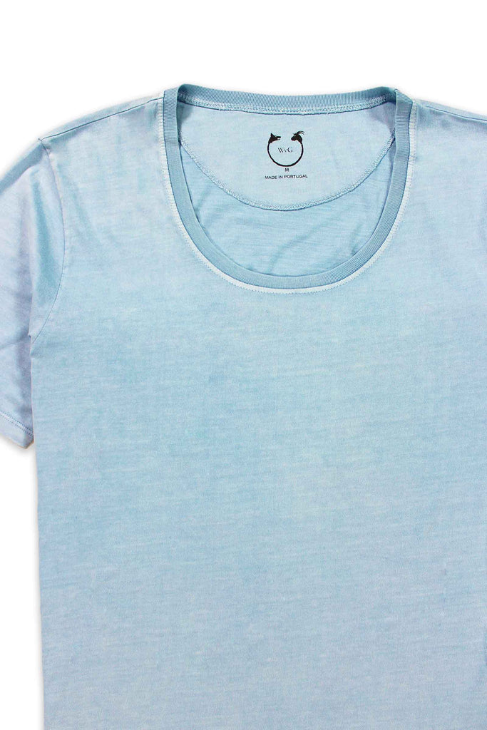 Organic Cotton Modal Short Sleeve Scoop Neck Ice Blue