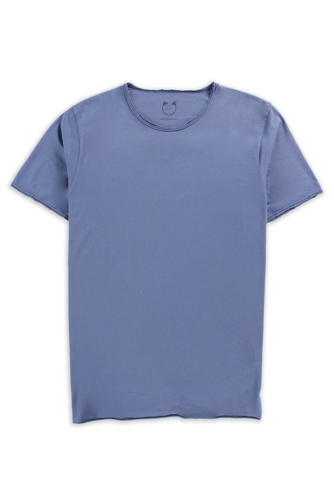 Organic Cotton Modal  Short Sleeve Roll Neck Indigo