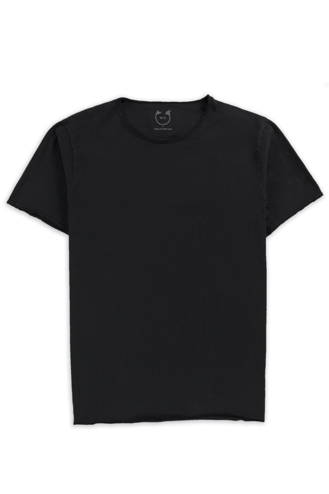 Organic Cotton Short Sleeve Roll Neck Jet Black