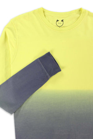 Long Sleeve Crew Neck Organic Cotton Modal Tee Yellow Ombré
