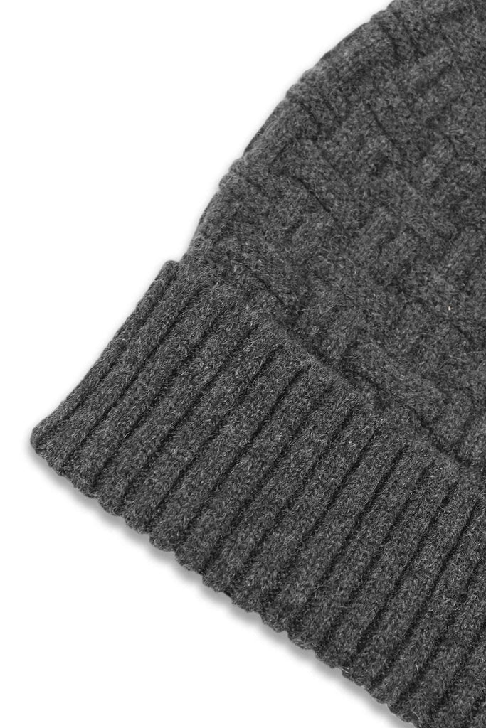 Charcoal Gray Cashmere Basket Weave Beanie