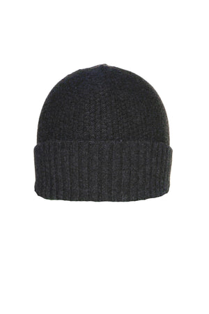 Charcoal Cashmere Popcorn Beanie