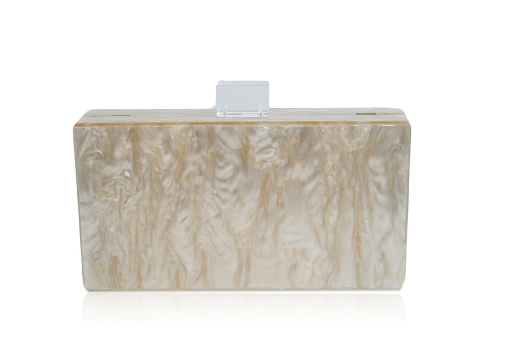 Champagne Mother of Pearl Acrylic Clutch Bag