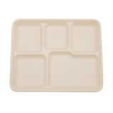 "10"" x 8.5"" Wheat Straw 5-Compartment Tray"