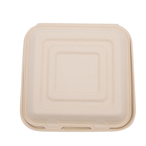 "10"" x 10"" x 3""  Wheat Straw 3-Compartment Hinged Lid Container"