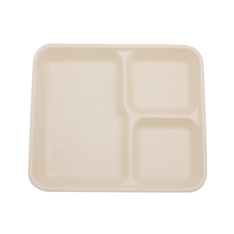 "9"" x 8"" Wheat Straw 3-Compartment Tray"