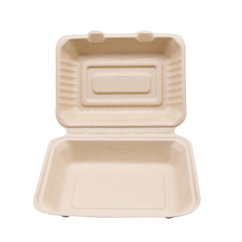 "9"" x 6"" x 3"" Wheat Straw Hoagie Hinged Lid Container"