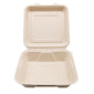 "8"" x 8"" x 2.5""  Wheat Straw Hinged Lid Container"