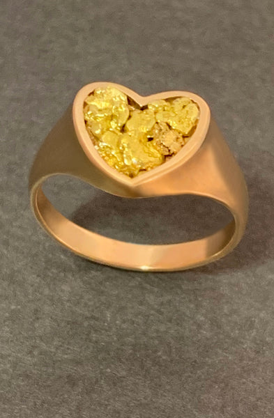 Heart Ring with Natural Gold Nuggets
