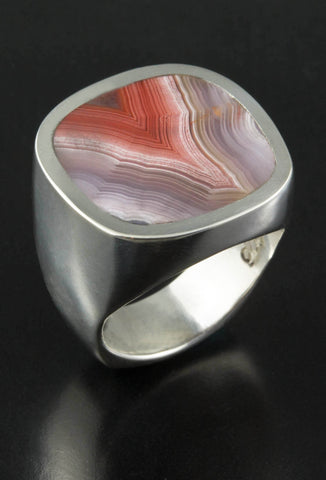 Agate and Sterling Silver Ring