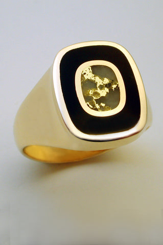 Black Jade and Gold in Quartz Ring