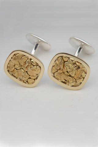 Natural Gold Nugget 18kt Gold and Sterling Silver Cufflinks