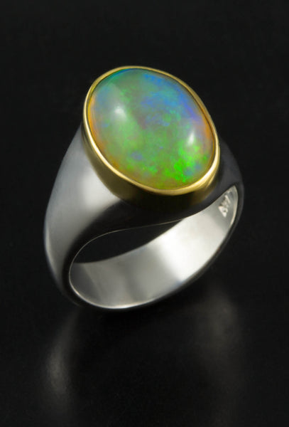 Blue Ethiopian Opal Ring