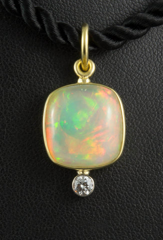 Ethiopian Opal Pendant with Diamond