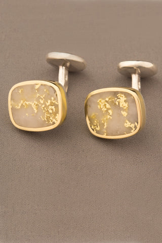 16 to 1 Gold in Quartz Cufflinks