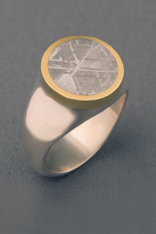 Gibeon Meteorite Ring in 18kt Gold and Sterling Silver