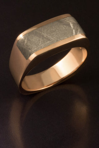 Gibeon Meteorite Band in 14kt Rose Gold
