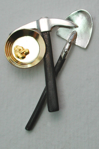 Lapel Pin with Gold Nugget, 14kt Gold Pan, Sterling Pick and Shovel