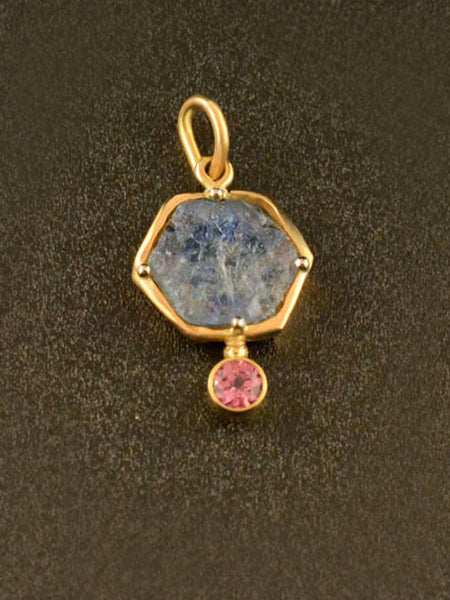 Custom Pink and Blue Sapphire Pendant