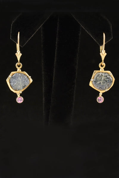 Custom Pink and Blue Sapphire Earrings