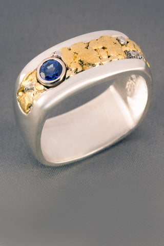Montana Sapphire Ring with Natural Gold and Platinum Nuggets