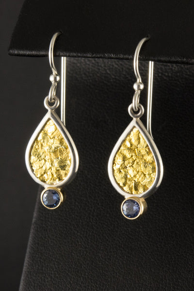 Montana Sapphire and Natural Gold Nugget Earrings