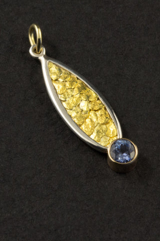 Montana Sapphire and Natural Gold Nugget Pendant